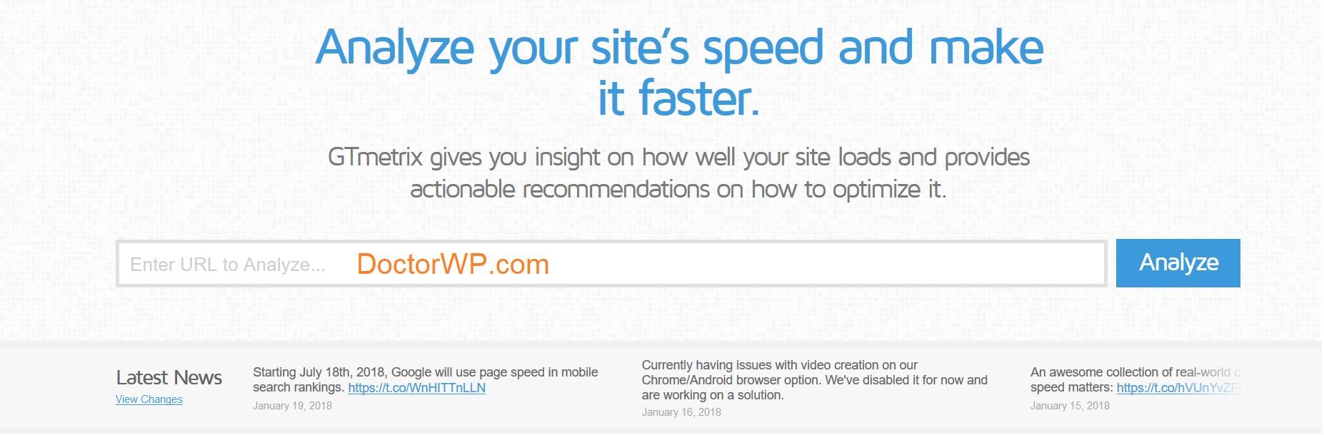 تست سرعت سایت در gtmetrix
