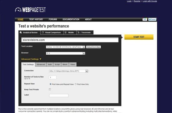 تست سایت توسط ابزار https://www.webpagetest.org/