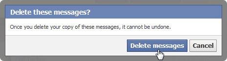 حذف کردن پیغام های فیس بوک