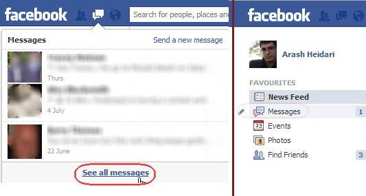 پیام و مسیج فیس بوک
