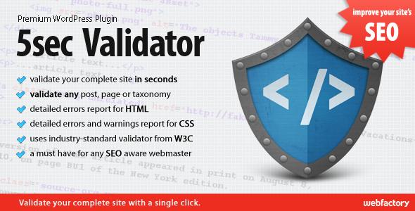 استاندارد سازی صفحات وردپرس با افزونه افزونه ۵Sec Validator