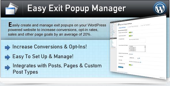 مدیریت پاپ آپ در وردپرس با افزونه Easy Exit Popup Manager