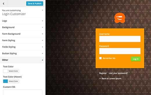 login-page-customizer
