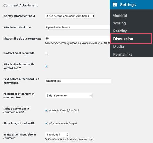 commentattachment-settings