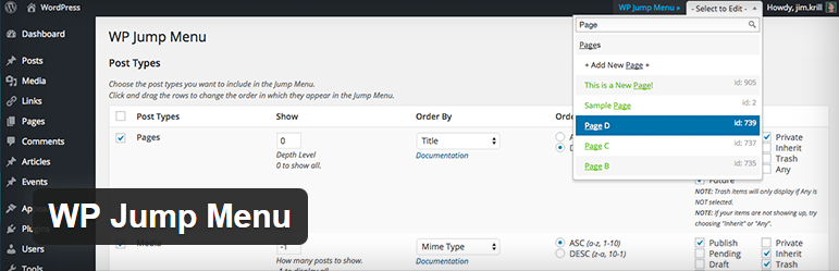 دسترسی سریع به مطالب در پیشخوان با WP Jump Menu