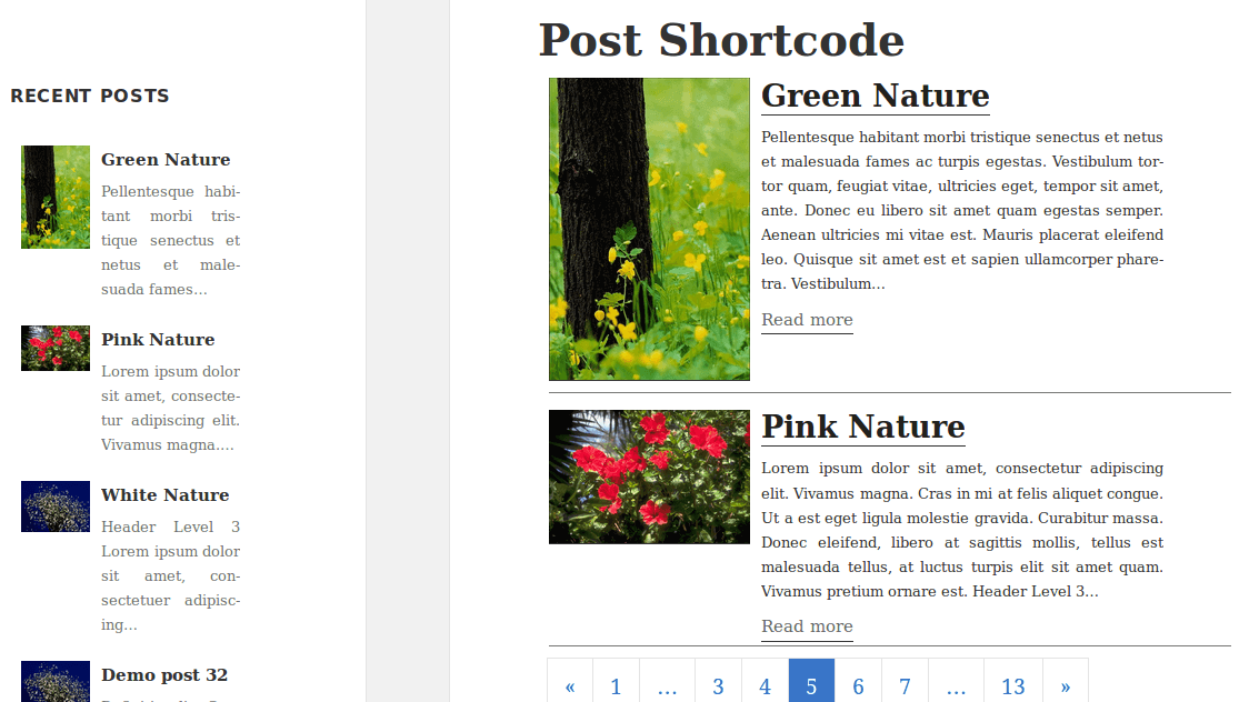 Post Shortcode widget