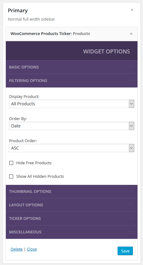 WooCommerce Products Ticker