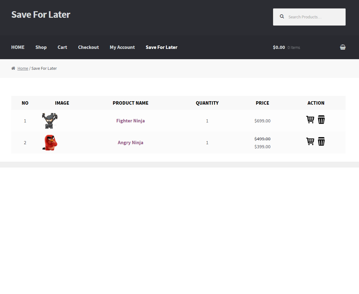 WooCommerce Save For Laters