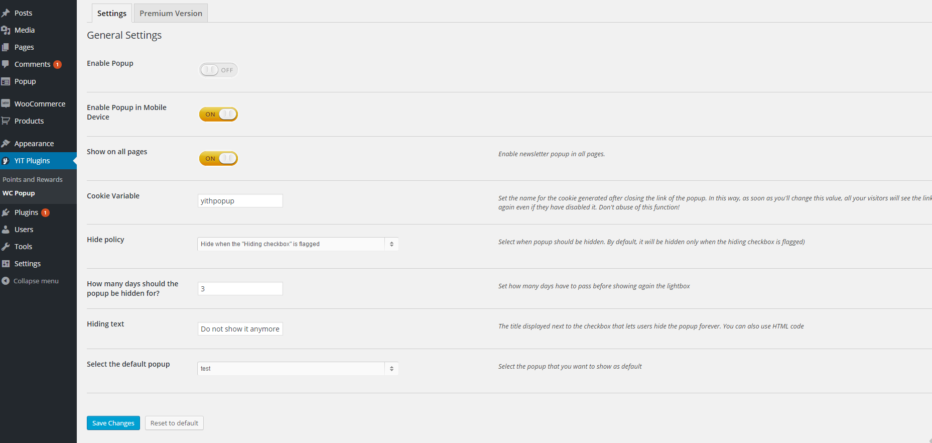 YITH WooCommerce Popup setting