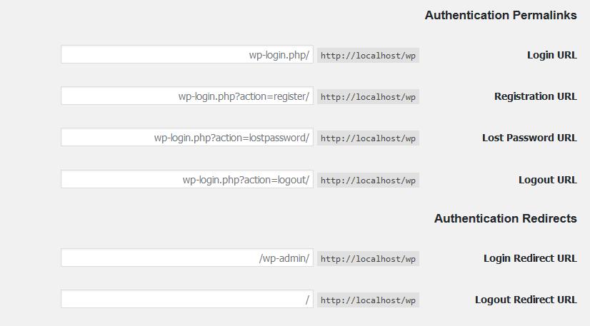 شخصی سازی آدرس های بخش ورود وردپرس